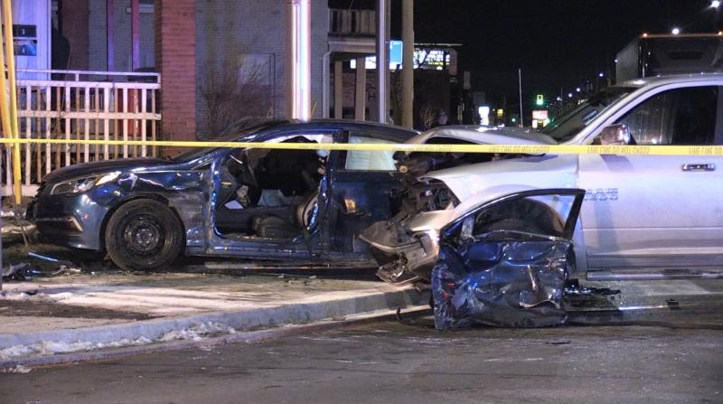 One person was left with serious injuries after a two vehicle crash at Hamilton Road and Egerton on Thursday, Jan. 7, 2021. (Jim Knight / CTV London)