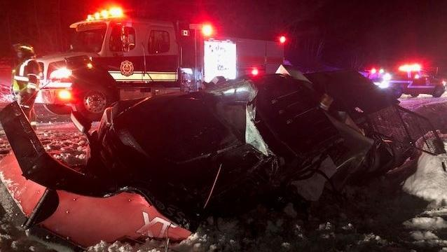 A truck with an attached snowplow crashed into a ditch along Muskoka Road 118 in Muskoka Lakes Township, Ont., on Thurs., Jan. 87, 2021 (OPP/Twitter)