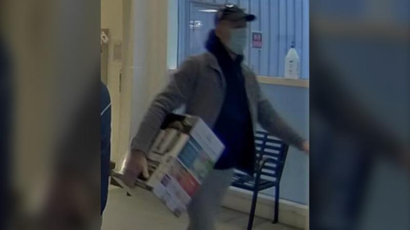 Nanaimo RCMP are searching for this man after he allegedly threatened a store worker while shoplifting: (Nanaimo RCMP)