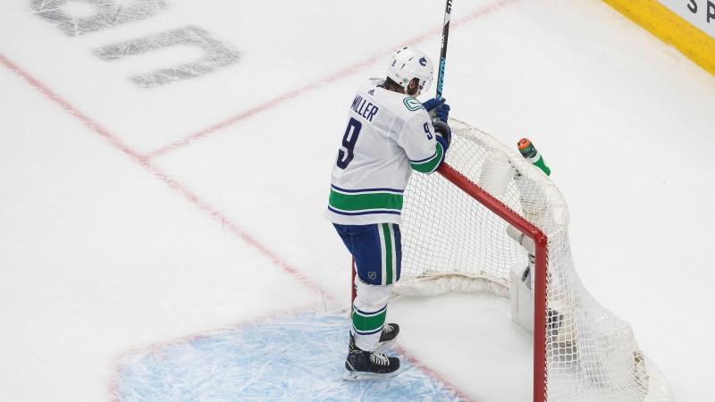 Vancouver Canucks' J.T. Miller (9) reacts to an empty net goal from the Vegas Golden Knights during third period NHL Western Conference Stanley Cup playoff action in Edmonton on Friday, Sept. 4, 2020. (Jason Franson / THE CANADIAN PRESS)