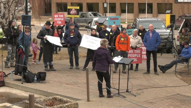 Mike Hoffman was fined for organizing this rally at Lethbridge city hall on Tuesday.