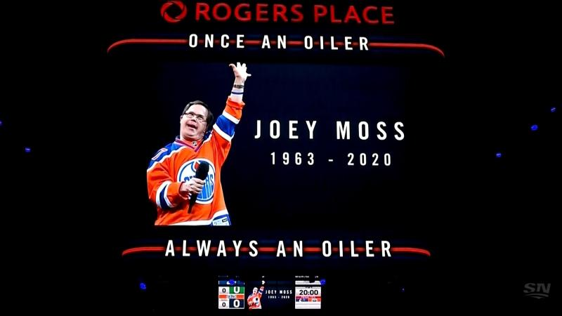 The Oilers paid tribute to Joey Moss and John Muckler before the start of the 2021 home opener. (Source: Sportsnet)