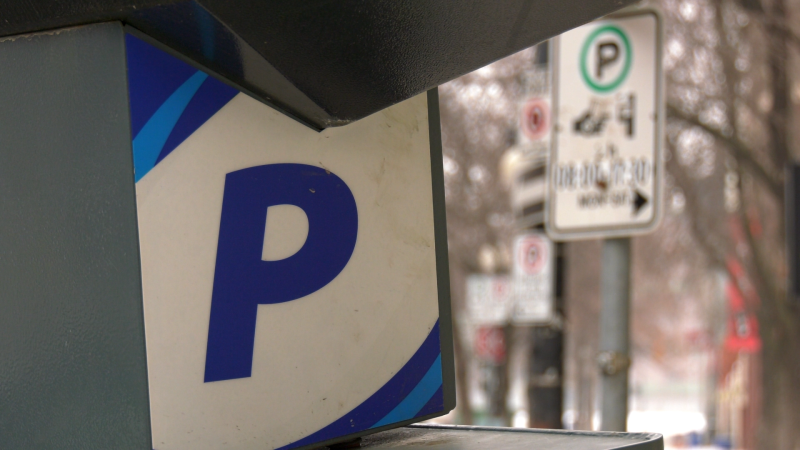 A parking meter is pictured in Winnipeg's exchange district on January 8, 2021. (CTV News Photo Glenn Pismenny)
