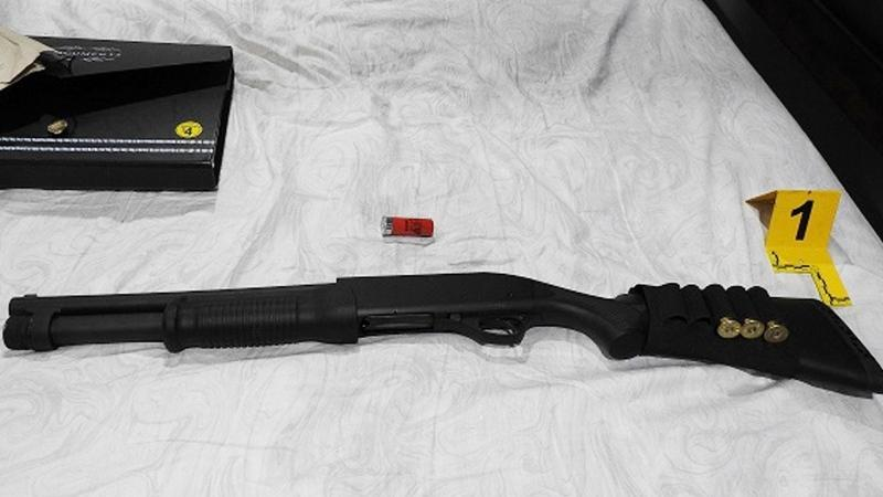 A shotgun seized during a warrant execution related to a drug investigation. (Source: Edmonton Police Service)