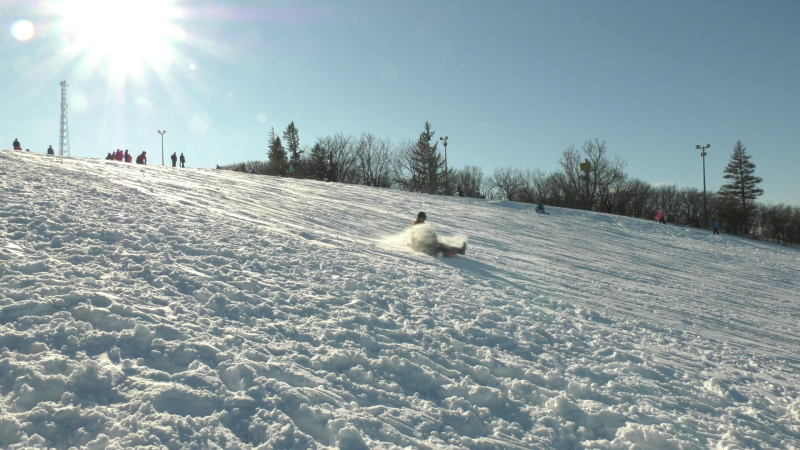 The toboggan hill at Carlington Park was busy following the first snowfall of the year. (Shaun Vardon/CTV News Ottawa)