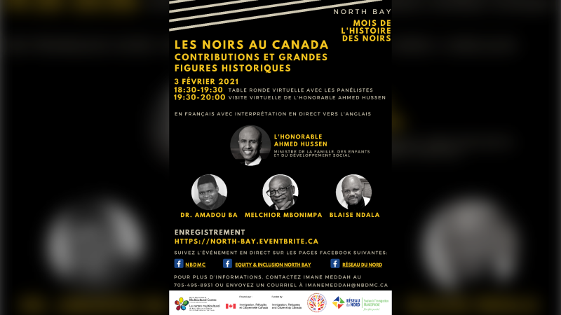 The North Bay & District Multicultural Centre, in partnership with North Bay and Area Local Immigration Partnership, Réseau de soutien à l'immigration francophone du Nord de and Equity and Inclusion North Bay, are holding a virtual bilingual round table in recognition of Black History Month. (Supplied)