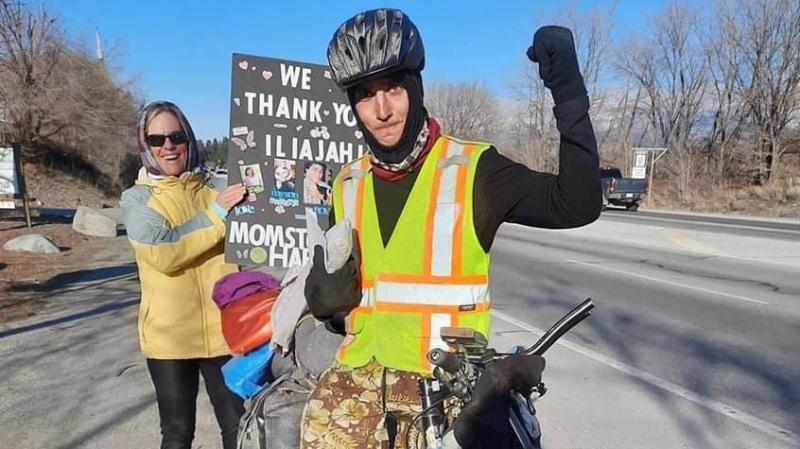 Iliajah Pidskalny, a Saskatoon cyclist who is raising money and awareness for homelessness and the opioid drug crisis, has made it to his destination in Vancouver. (Cycle to Stop the Harm/Facebook)
