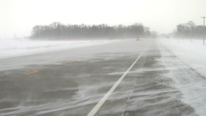 Blowing snow on Highway 402 west of London. (OPP)