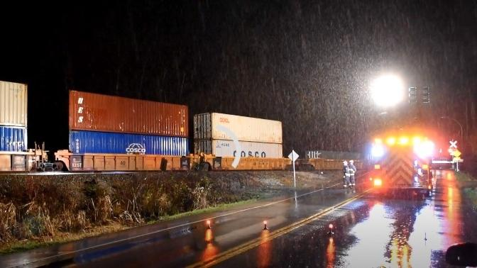 A train was stalled in Langley City on Saturday, Feb. 6, 2021, following a collision with a vehicle (Curtis Kreklau).