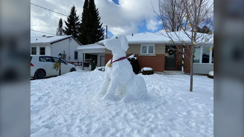 "Pembroke residents created giant snow sculptures for the ""Stay at Home SnoSpree 2021"" event. (Dylan Dyson/CTV News Ottawa)"