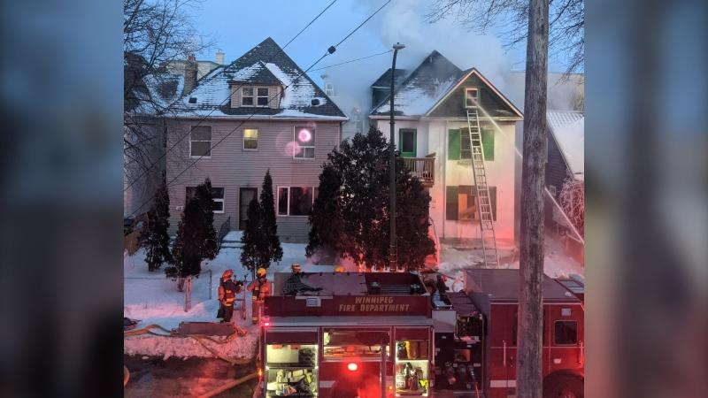 The WFPS is investigating the cause of a fire on Langside St. on Sunday, Feb. 7, 2021. (Source: Wyatt Delbridge)