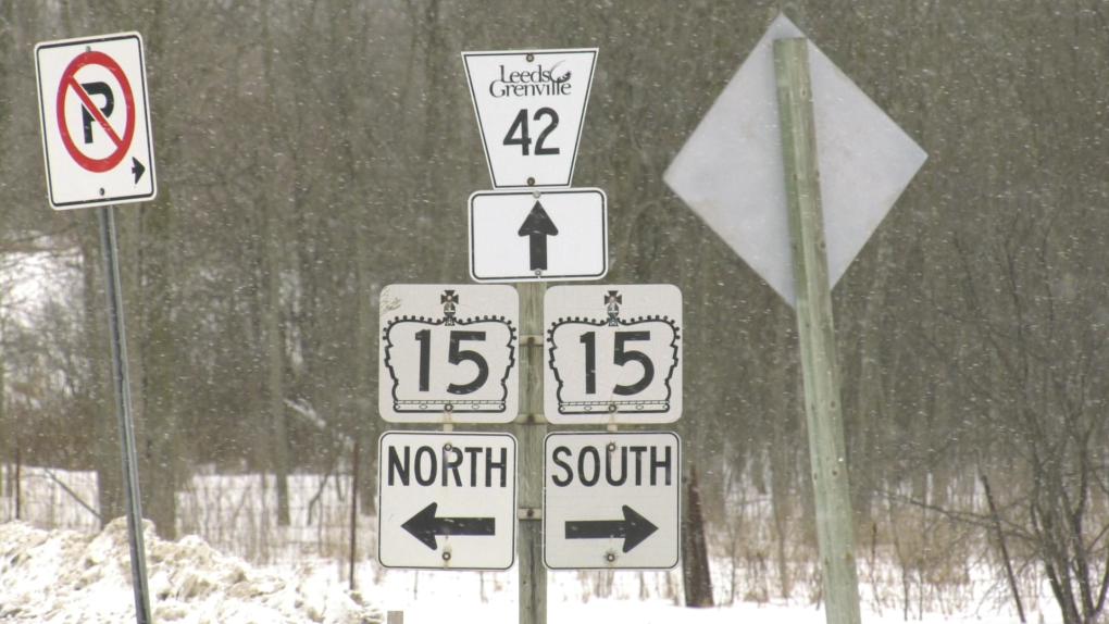 Signs posted at the Hwy 15 & Cty. Rd. 42 intersection. (Nate Vandermeer / CTV News Ottawa)
