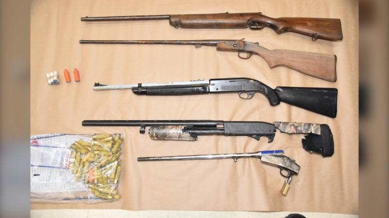Weapons allegedly seized from home on Passmore Avenue. Feb. 8/21 (North Bay Police Service)