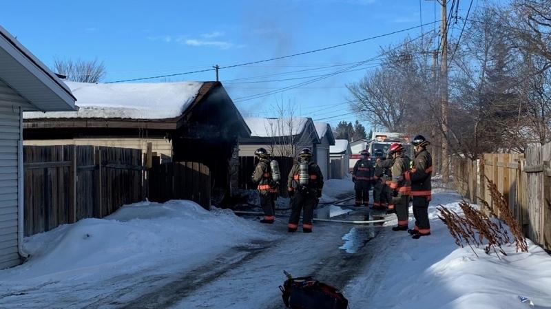 Saskatoon Fire Department responds to a garage fire in the 1100 block of Avenue J N on Feb. 20 (Ryan Fletcher/CTV Saskatoon)