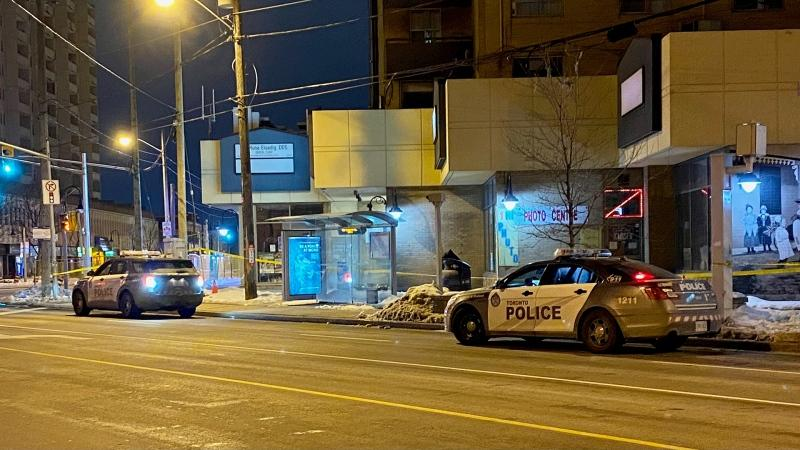 Police vehicles are seen near Weston Road and Lawrence Avenue West after a stabbing incident at a bus stop on Feb. 21, 2021. (Mike Nguyen/CP24)