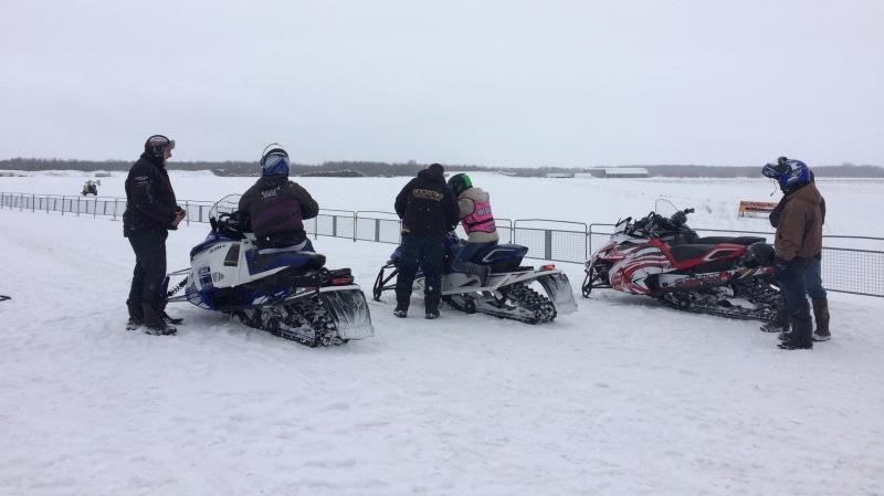 Snowmobile enthusiasts are seen at Edenvale Airport on Friday, Jan. 18, 2019 (CTV News/Aileen Doyle)