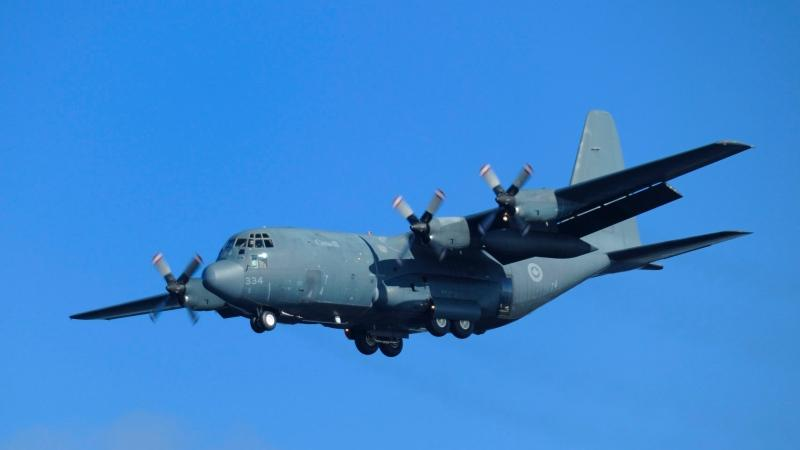 A CC-130 Hercules approaches Summerside Airport during 413 Transport and Rescue Search and Rescue Exercise on September 28, 2011. (DND-Cpl Vincent Carbonneau / The Canadian Press)
