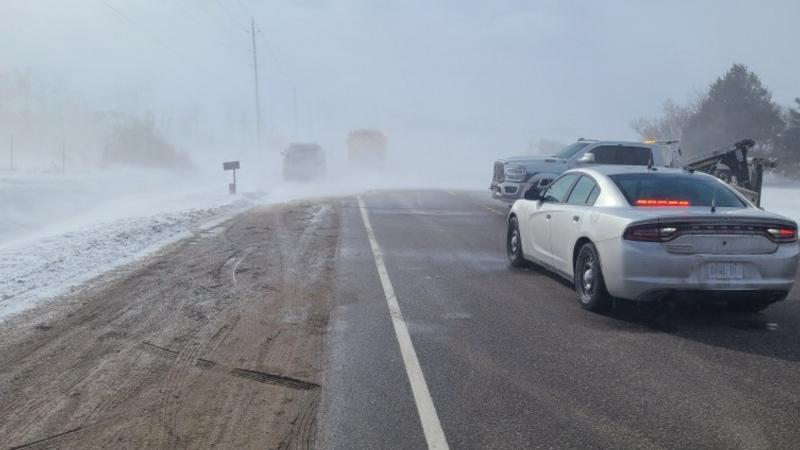 Whiteouts and zero visibility may have caused a fatal collision on County Road 109 in Dufferin County on Mon., March 1, 2021 (Dufferin OPP)