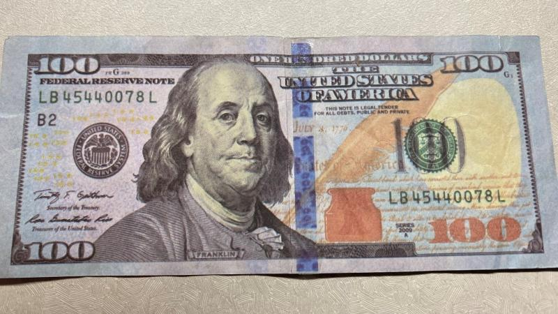 Nova Scotia RCMP is investigating after a counterfeit American $100 bill was used in Eastern Passage, N.S. (Photo via Nova Scotia RCMP)