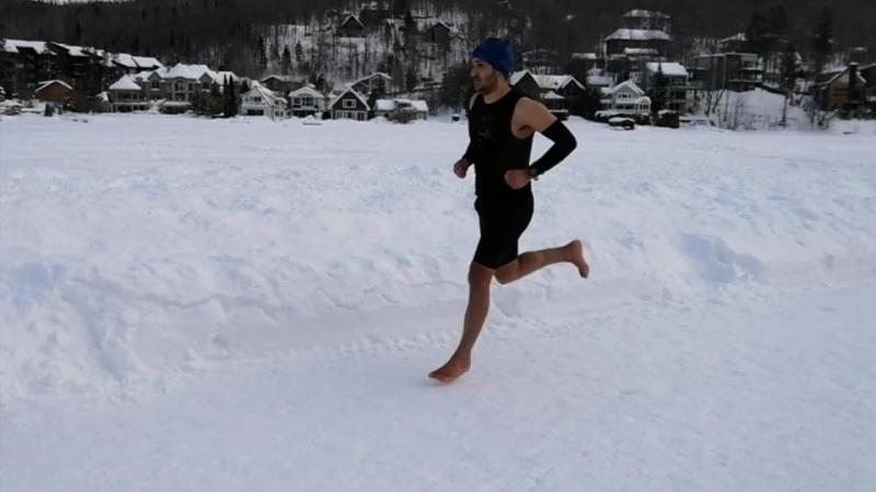 Karim El Hayani broke the record for running a half-marathon barefoot on ice and snow last month even though he only ran on snow for the first time less than five years ago. SOURCE: Karin El Hayani