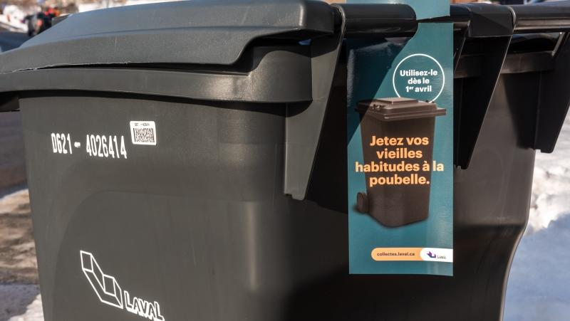 The new black bins in Laval will be the only ones used for non-recyclable and non-compostable waste, and will be collected using a mechanical arm. SOURCE: Ville de Laval/Twitter