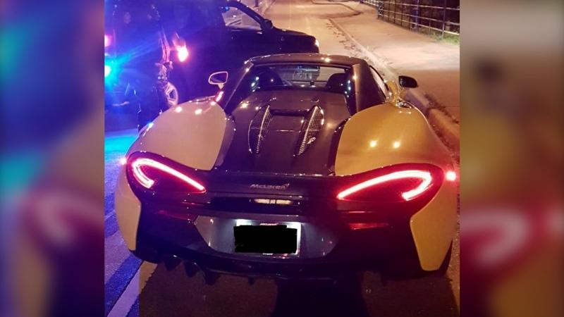 The McLaren was travelling more than three times the speed limit as it crossed the Lions Gate Bridge Wednesday night, according to Vancouver police Sgt. Mark Christensen. (Twitter/@baldguy1363)