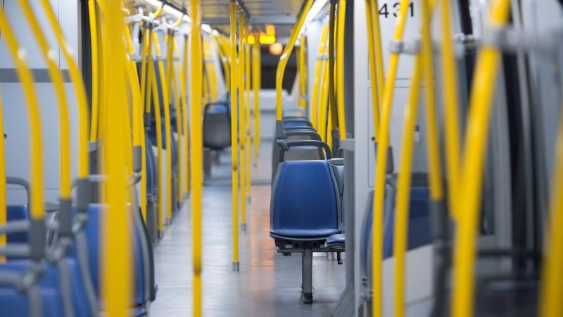 Empty seats are seen on a empty SkyTrain leaving the waterfront train platform in downtown Vancouver, Monday, April 20, 2020. (Jonathan Hayward / THE CANADIAN PRESS)