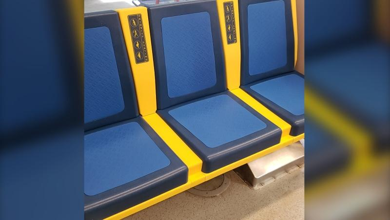 New ETS seats on LRT cars have an additive in the plastic that can reduce up to 99.9% of germs, including bacteria, fungus & viruses (Supplied/Edmonton Transit Service/Twitter).