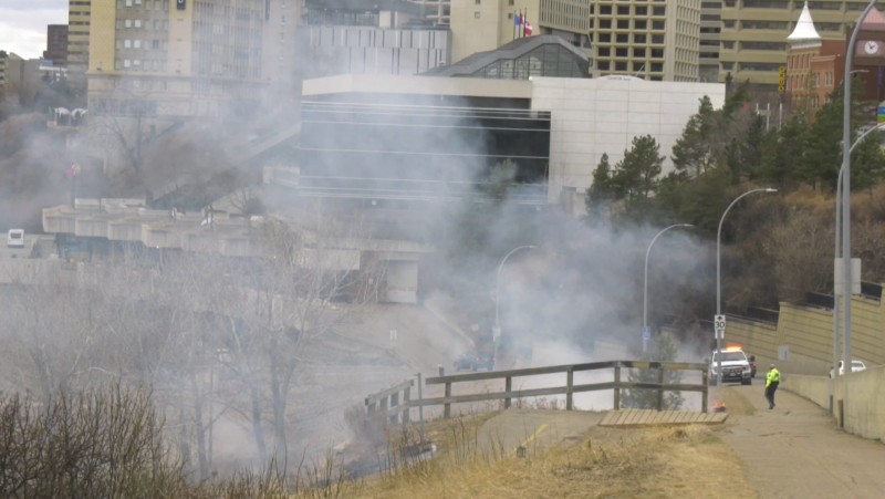 Edmonton Fire Rescue Services responded to two downtown grass fires in Edmonton Saturday (Dave Mitchell/CTV News Edmonton).