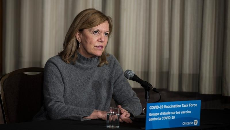 Christine Elliott, Deputy Premier and Minister of Health, responds to a question during a press conference regarding COVID-19 vaccine distribution, at Queen's Park in Toronto on Friday, December 11, 2020. THE CANADIAN PRESS/ Tijana Martin