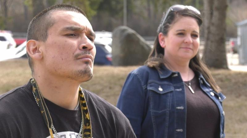 Cory Cardinal and Sherri Maier stand outside of Pine Grove Correctional Centre. (Jayda Taylor/CTV Prince Albert)