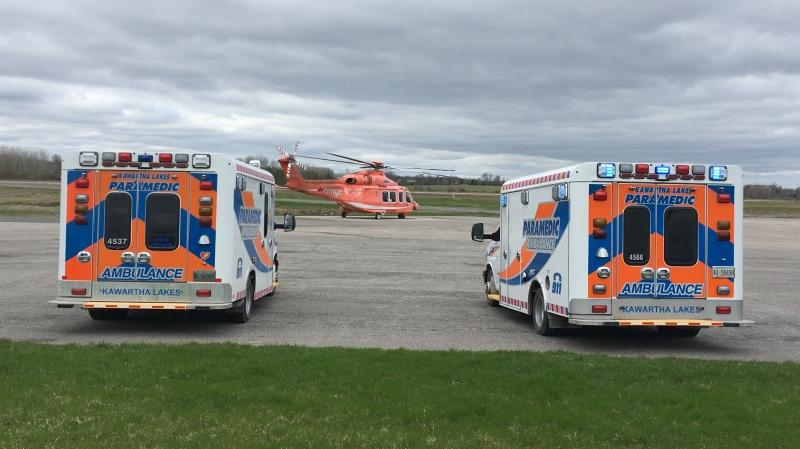 An air ambulance is seen in Lyndsay, Ont. transporting patients from a crash on April 20, 2020. (Harrison Perkins/CTV News Toronto)