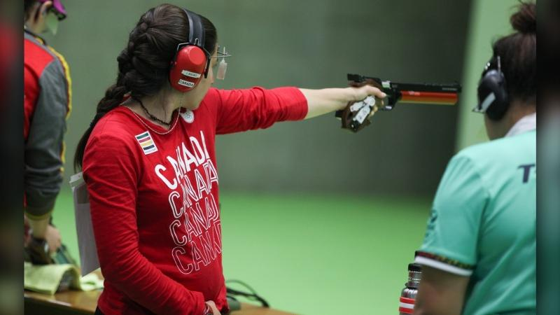 Team Canada's Lynda Kiejko competes in the qualifying round of air pistol shooting at Deodoro Park in Rio de Janeiro, Brazil in this Sunday, August 7, 2016 handout photo. (THE CANADIAN PRESS/HO, COC, David Jackson)