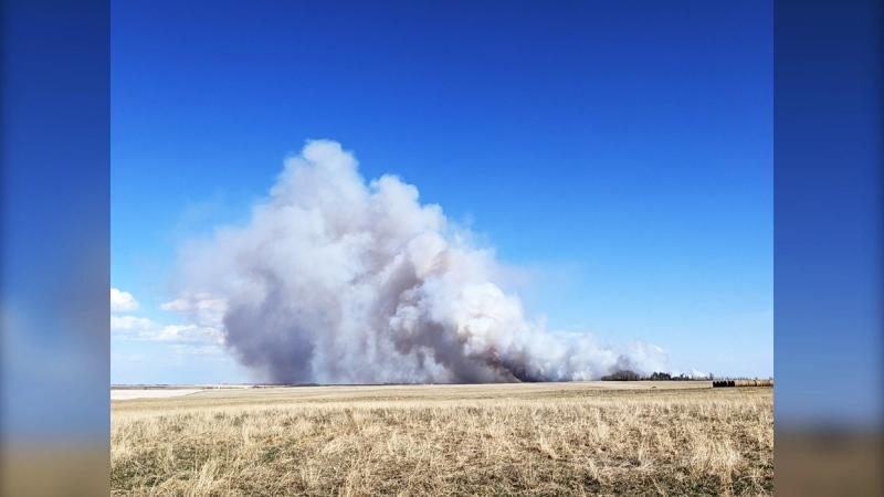 A fire is burning in the Carstairs area