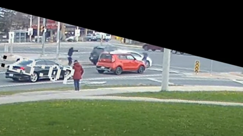 Durham Regional Police have released video footage of a brazen daylight shooting at an intersection in Ajax.