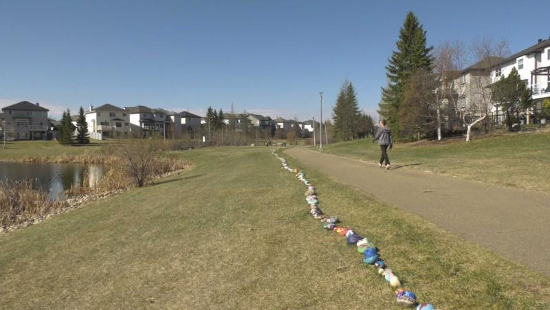 This rock snake with encouraging messages is growing in a north Edmonton neighbourhood. May 3, 2021. (Darcy Seaton/CTV News Edmonton)