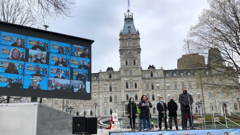 School support staff in Quebec held a virtual protest in front of the National Assembly May 4, 2021. Workers held a strike to protest the lack of a collective agreement. (Stephane Giroux/CTV News)