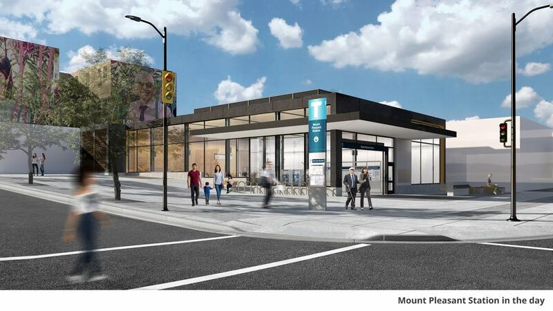 Rendering for Mount Pleasant station. (Broadway Subway project survey)
