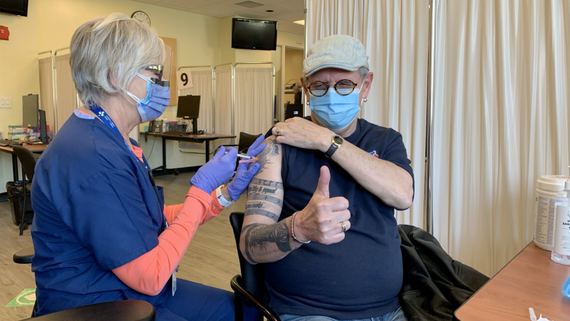 Steve McArdle receives his second dose of a COVID-19 vaccine at the Ottawa Hospital Civic Campus Monday, May 10, 2021. (Jackie Perez / CTV News Ottawa)
