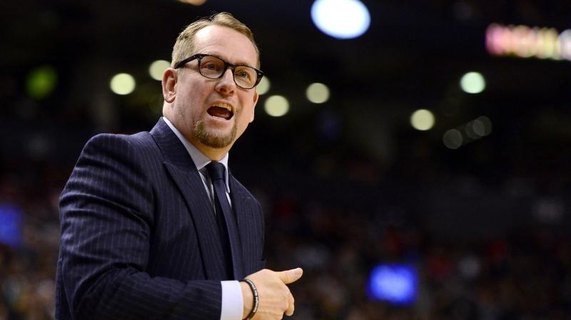 Toronto Raptors head coach Nick Nurse directs play from courtside during first half NBA basketball action against the Brooklyn Nets, in Toronto, Saturday, Feb. 8, 2020. Nurse said while the NBA is set to resume play late next month in Orlando, virtually none of the talk with his coaches and players over the past couple of weeks has been about basketball. THE CANADIAN PRESS/Frank Gunn