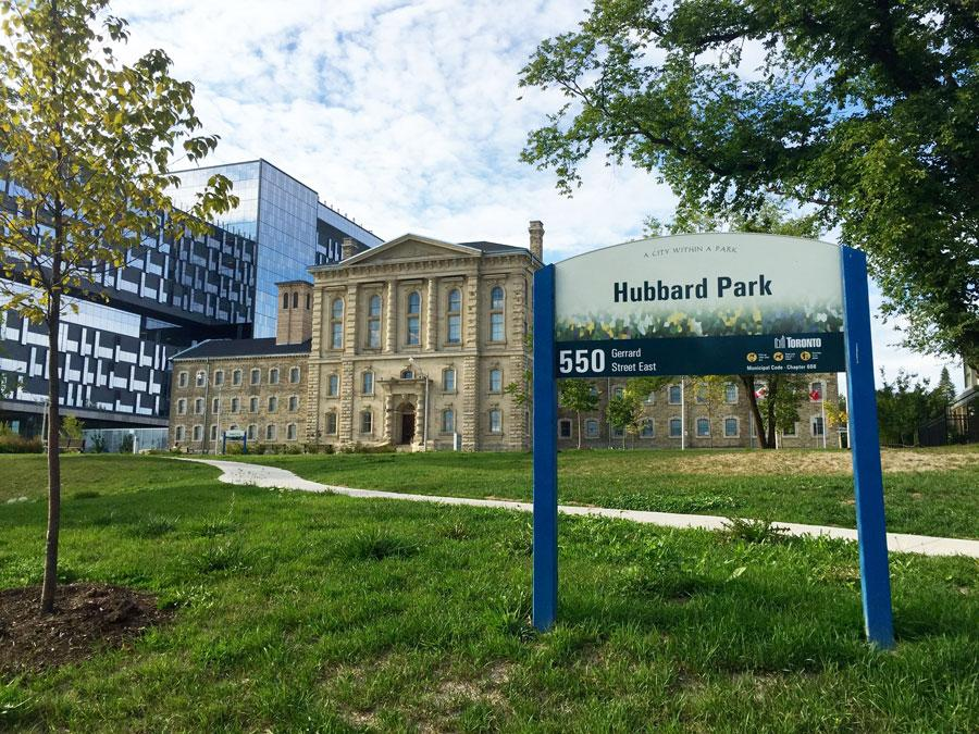 Hubbard park sign in the Gerrard and Broadview area.