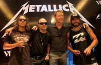 Kirk Hammett (L), Lars Ulrich (CL), James Hetfield (CR) and Robert Trujillo (R) from Metallica at the F1 Rocks India Metallica concert press conference on October 28, 2011 in Delhi, India.