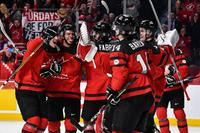 Team Canada celebrates their victory over Team Sweden and proceed to the gold medal round during the 2017 IIHF World Junior Championship semifinal game at the Bell Centre on January 4, 2017 in Montreal, Quebec, Canada. Team Canada defeated Team United States 5-2.
