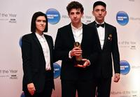 British musician Jamie XX poses with The xx band members Romy Madley Croft (L) and Oliver Sim on arrival for the 2015 Mercury Music prize awards ceremony in central London on November 20, 2015. The Mercury Prize seeks to promote the best of UK and Irish music and the artists that produce it. This is done primarily through the celebration of the 12 Albums of the Year, the 12 shortlisted artists.