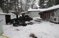 A fire does damage to a home and a shed in Quyon, January 28, 2017.