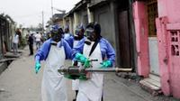 July 22, 2016, file photo teams from MSF carry out fumigation efforts in the Yolo Sud neighborhood of Kinshasa, Democratic Republic of Congo, in a bid to kill the mosquitos that transmit yellow fever.