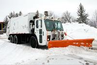 The City of Ottawa tests a hybrid garbage truck/snow plow, on loan from New York City. February 16, 2017.