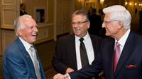 Ed Lumley (right), Chancellor of the University of Windsor, shakes hands with Bob White (left), the first President of the CAW, with Ken Lewenza at a fundraiser roast for the new Centre for Engineering Innovation at the Royal York in Toronto on Wednesday May 30, 2012.