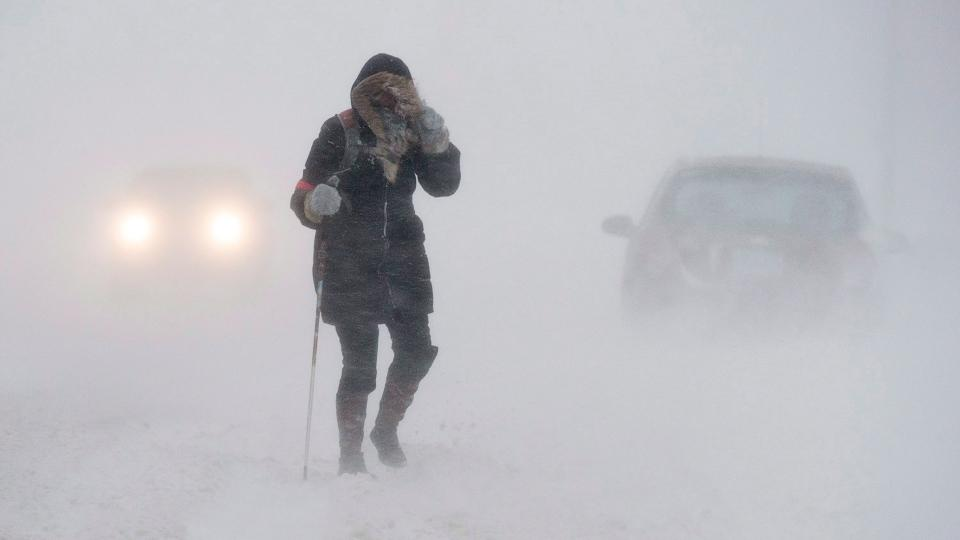 Person walks through snow storm