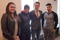 Teacher Maggie MacDonnell, second from left, and students Samantha Leclerc, Lucasie Amamatuak and Larry Thomassie. (Kativik School Board via the Canadian Press)